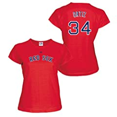 David Ortiz Boston Red Sox Red Ladies Player T-Shirt w  World Series Logo by Majestic by Majestic