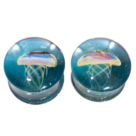 Translucent Sparkle Blue Background Amber Purple Jellyfish Plugs - Hand Made Glass Double Flare - 1