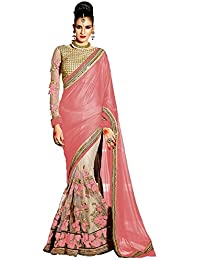 Indian Polo Lycra Saree (152_Flow_Peach_Peach)
