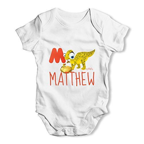 [Twisted Envy Personalised Dinosaur Letter M Baby Unisex White Bodysuit 0 - 3 Months] (Animals That Start With The Letter M)