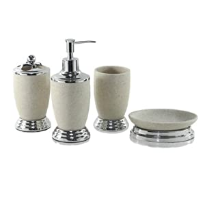 Dream Bath Gravel Knight Bath Ensemble 4 Piece Bathroom Accessories Set Lotion Dispenser/Toothbrush holder/Tumbler/Soap dish