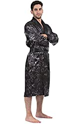 Le Ferre International Mens classic Premium Long Lightweight Paisley Satin Robe - Nightwear - Loungewear - Bath Robe, Printed With 2 front Pockets