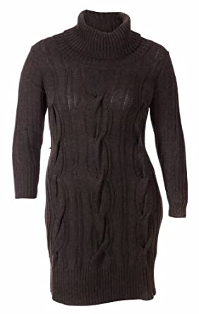 Calvin Klein Women's Turtleneck Sweater Dress (X-Large, Chocolate Heather)