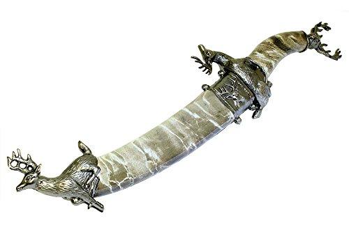 """14"""" Grey Deer Mongolian Dagger With Sheath"""