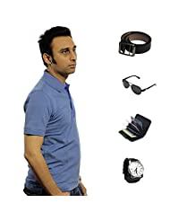 Garushi Blue T-Shirt With Watch Belt Sunglasses Cardholder - B00YMLAK6C