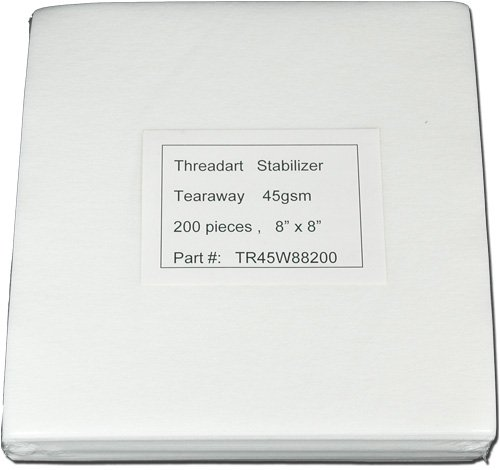 Regular Tearaway 8x8 200 Precut Sheets for Embroidery Machines