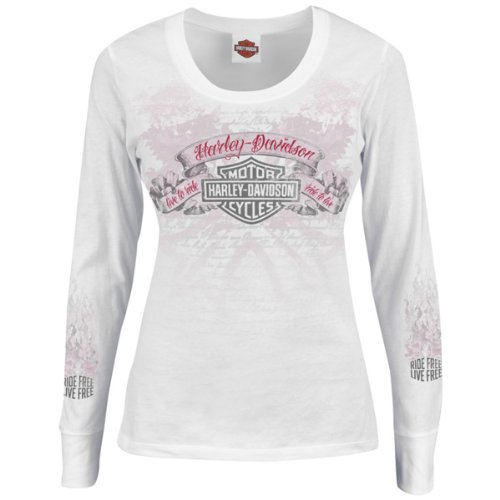 5D18-H33R - Harley-Davidson® Womens Feminine Adrenaline Scoop Neck White Long Sleeve