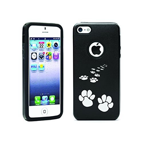 Apple Iphone 5C Aluminum & Silicone Case Paw Print - Lifetime Warranty (Black)