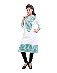 Trendy Off-White Kurti Cotton Printed Tribal Small For Ladies By Rajrang