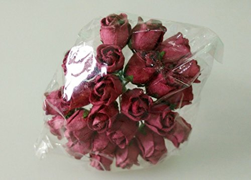 REDBULL 50 Mulberry Paper Rose Bud Blume / Scrapbooking Handwerk Card 1 cm.