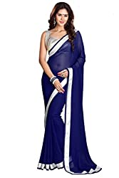 Gabani Fabrics Solid, Plain Fashion Chiffon Blue Saree gf28