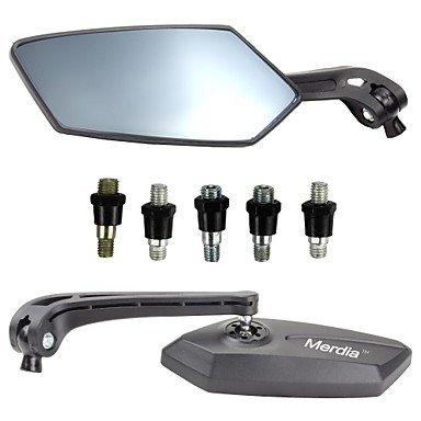 Commoon Ships In 24 Hours Merdia Rhombus Style Motorcycle Anti-Glare Back Rearview Mirror - Black And Light Blue (Pair)