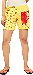 Udankhatola Women's Cotton Shorts (BOXW-Cellfie-Ylw, Yellow, 30)