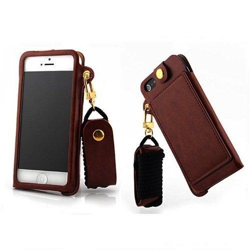 Apple iPhone4 iPhone4S 兼用 プレミアムホルダーケース [ アイフォン4/4S SIMフリー スマホ 対応 ] PUレザー スライド収納モデル (イヤホンコード巻取・ICカード収納・ストラップホール・スタンド) + ネックストラップセットBrown (茶) …