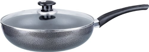 Brentwood Non-Stick Aluminum Wok with Lid, 9-1/2-Inch, Gray