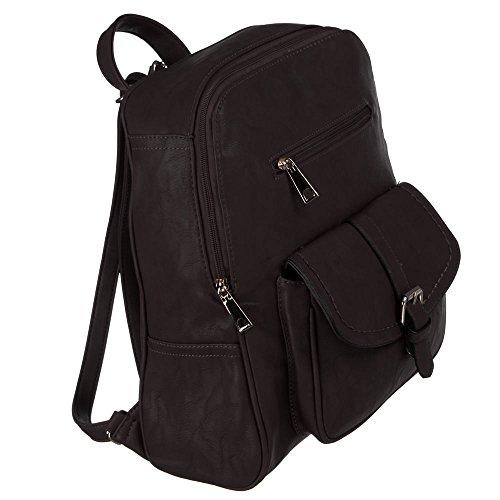 Damen Tasche, RUCKSACK, HANDTASCHE, TA-673-2, Synthetik in hochwertiger Leder Optik, Dunkelbraun