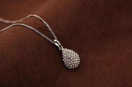 Change Silver & Gold Love Crystal Teardrop Pendant