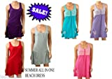 Womens Girls Summer Beach Cotton Dress, all in one vest skirt