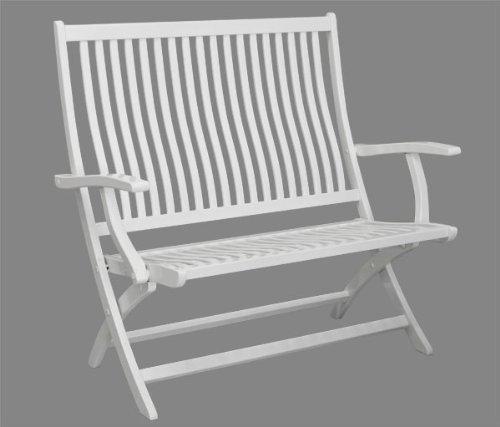 2-Sitzer Gartenbank Ascot mit hoher Rückenlehne – Holz weiß lackiert – Qualität aus Deutschland kaufen