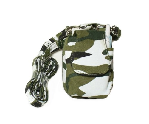 Green and White Camouflage Cell Phone Purse Plus with Adjustable Shoulder Strap
