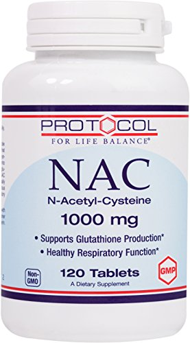 Protocol For Life Balance - NAC N-Acetyl-Cysteine 1000 mg - Supports Glutathione Production and Healthy Respiratory Function - 120 Tablets (N Acetyl Cysteine 1000 compare prices)