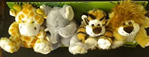 Jungle Animal Hand Puppets (Set of 4) Lion, Elephant, Tiger, and Giraffe