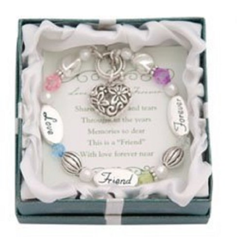 Love, Friend, Forever Silver & Crystal Expressively Yours Bracelet: Jewelry