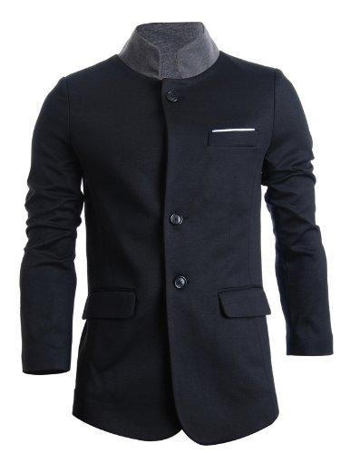FLATSEVEN Herren Slim Freizeit Blazer Sakko Standing Kragen (BJ104) Black, Boys XL
