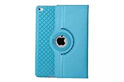 TGK Detachable 360 Degree Rotating Leather Case Cover Stand for iPad Air 2, iPad Air 6 - Sky Blue