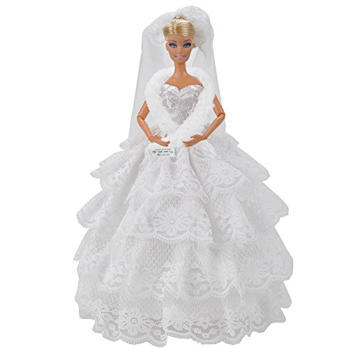 E-TING Fashion Handmade Wedding Evening Party Dress Clothes Gown Veil For Barbie Dolls - 1
