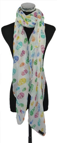 Large White with Multi Colour Skulls Print Chiffon Scarf or Sarong