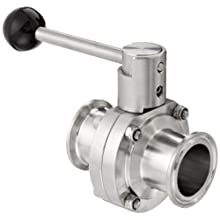 "Dixon B5101V150CC-A Stainless Steel 316L Butterfly Valve with Pull Handle and Viton Seal, 1-1/2"" Tube OD"