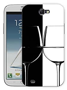 """Humor Gang Wine Glass Black White Printed Designer Mobile Back Cover For """"Samsing Galaxy Note 2"""" By Humor Gang (3D, Matte Finish, Premium Quality, Protective Snap On Slim Hard Phone Case, Multi Color)"""