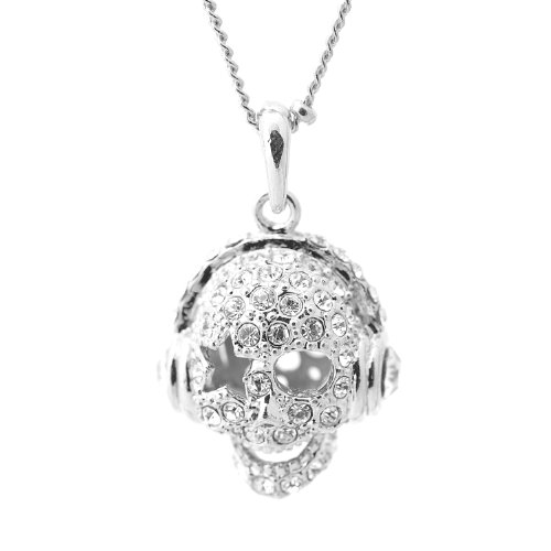 High Gloss Silver Plated Jazzy Skull With Headphone Necklace