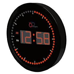 DBTech Stylish Big Digital LED Wall Clock with Circling LED second indicator - Round Shape / Red LED