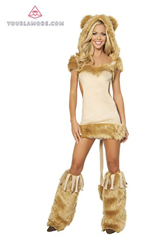 [Lioness Costume Bundle with Women's Stockings] (Woman Lioness Costume)