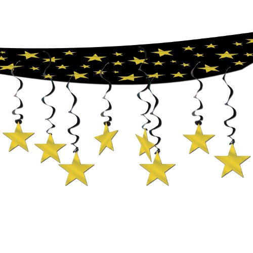The Stars Are Out Ceiling Decor (black & gold) Party Accessory  (1 count) (1/Pkg) - 1