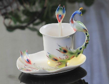 Glodeals (TM) Hand Crafted Porcelain Enamel Delicate Peacock Tea Coffee Cup Set with Saucer and Spoon (Bright Color)