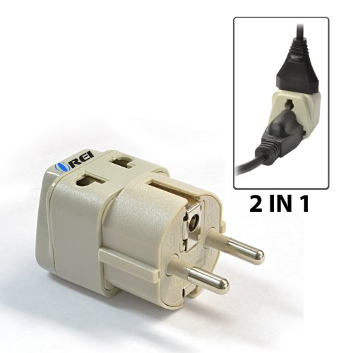 OREI Grounded Universal 2 in 1 Schuko Plug Adapter Type E/F for Germany, France, Europe, Russia & more - High Quality - CE Certified - RoHS Compliant WP-EF-GN
