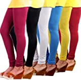 YASMIN Standard Ladies Cotton Lycra Free Size (28-34 Inch) Leggings Combo Six color (Pack of 6)