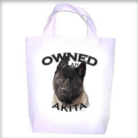 Akita BLACK Owned Shopping - Dog Toy - Tote Bag