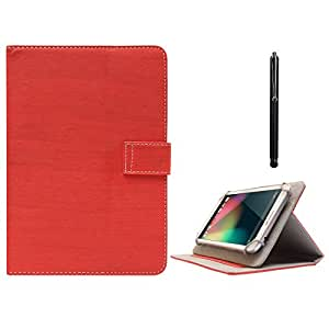 DMG Protective Flip Book Cover Stand View Case for Datawind Ubislate 3g 7 Tablet (Red) + Capacitive Touch Screen Stylus