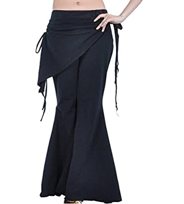 Dreamspell black sports belly dance Yoga Pants opening Flare Leg design(S size)