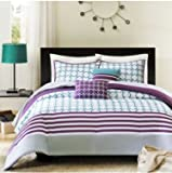 "Intelligent Design Lacey Geometric Comforter Set - 5-pc Full/Queen size - 90x90"" comforter, two shams and two decorative pillows - For kids, teens and adults bedroom- Home decor - Circles and stripes in teal and purple - Polyester - Quality fabric"