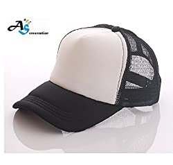 Baseball Mesh Cap with Adjustable Snapback Strap (Black)