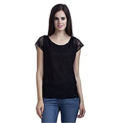 MansiCollections Women's Black Short Sleeve Top (Small)