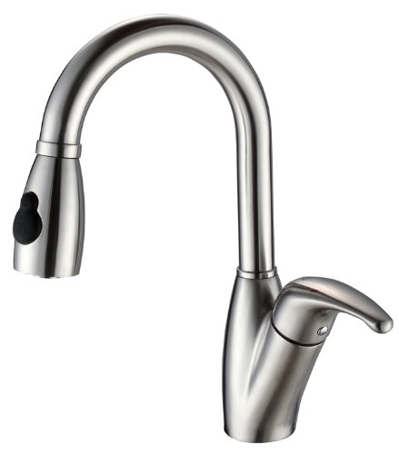 Kraus KPF-2121-SD20 Single Lever Pull Out Kitchen Faucet and Soap Dispenser, Stainless Steel