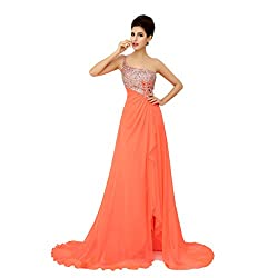 One Shoulder Spaghetti Strap Backless Chiffon Evening Dress/Prom Dress/Quinceanera Dress/Wedding Party Dress  with a Brush/Sweep Train