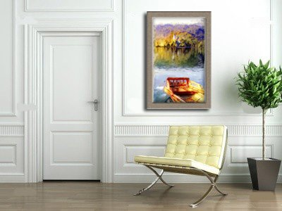 "0010912 Contemporary Canvas Wall Art – REGISTERED Authentic Artwork ""Summer Lake"" by Lena Kashigin, Artist Hand Finished and Signed, 20×32 Stretched Gallery Wrap Ready to Hang, National Fine Arts Registry Title."