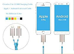 Aeoss 2 IN 1 ZIPPER HI SPEED charging & Data CABLE FOR ANDROID MOBILE AND IPHONE 6 PLUS 5